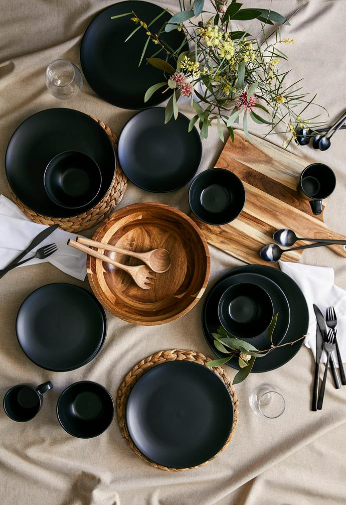 """Loose dinnerware, $2, wooden serving bowl, $25, wooden serving spoons, $10, and hyacinth placemat $3 each, [Target](https://www.target.com.au/ target=""""_blank"""" rel=""""nofollow"""")."""