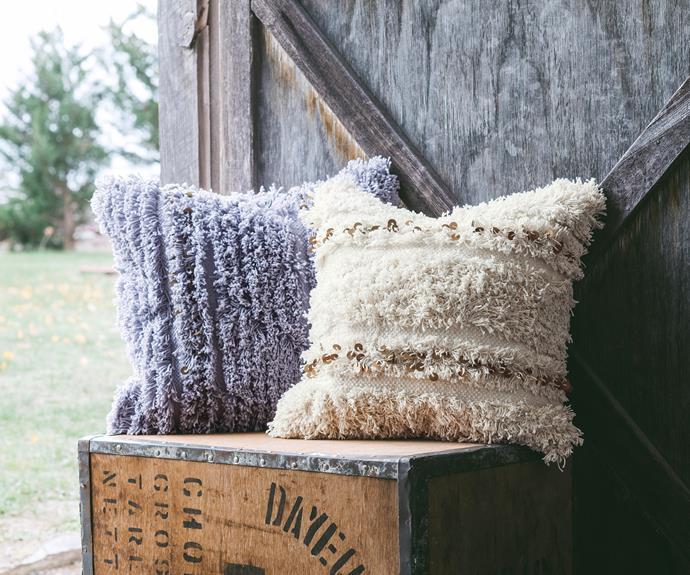 "Lottie textured sequin cushions, $20 each, [Target](https://www.target.com.au/ target=""_blank"" rel=""nofollow"")."