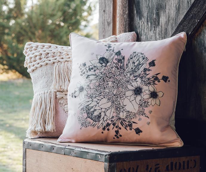 "Frieda textured cushion, $20, and stella botanical print cushion, $15, [Target](https://www.target.com.au/ target=""_blank"" rel=""nofollow"")."