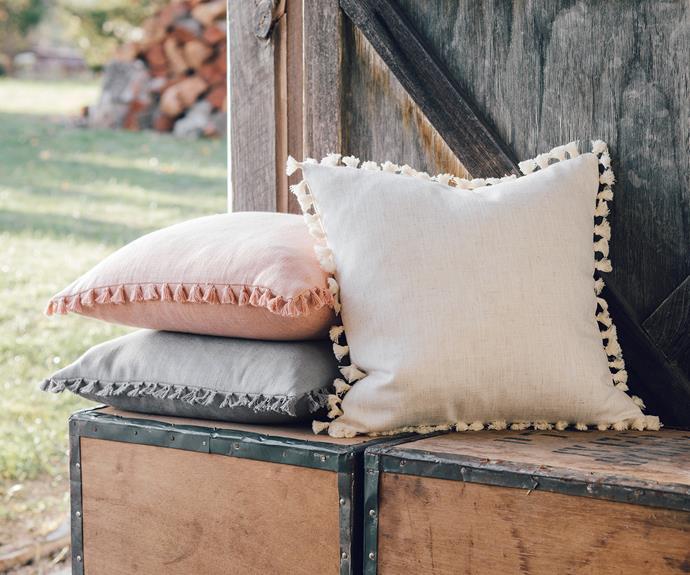 "Marcella tassel cushions, $15 each, [Target](https://www.target.com.au/ target=""_blank"" rel=""nofollow"")."