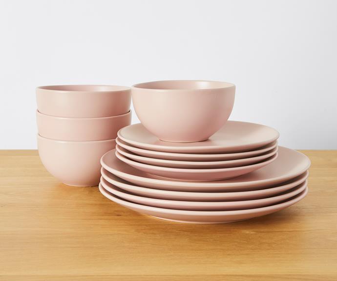 "Matte stoneware 12 piece dinner set, $29, [Target](https://www.target.com.au/ target=""_blank"" rel=""nofollow"")."