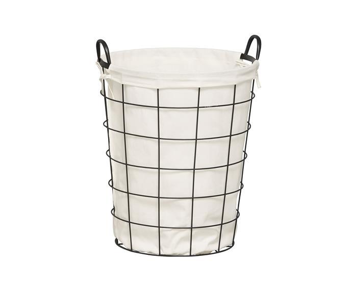 "Metal laundry hamper, $25, [Target](https://www.target.com.au/ target=""_blank"" rel=""nofollow"")."