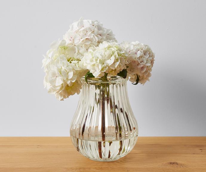 "Ribbed glass vase, $10, [Target](https://www.target.com.au/ target=""_blank"" rel=""nofollow"")."