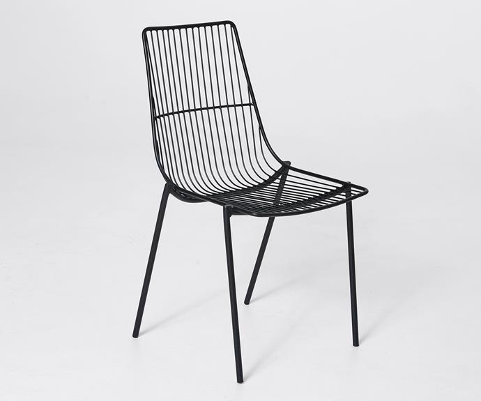 """Wire occasional chair, $39, [Target](https://www.target.com.au/ target=""""_blank"""" rel=""""nofollow"""")."""