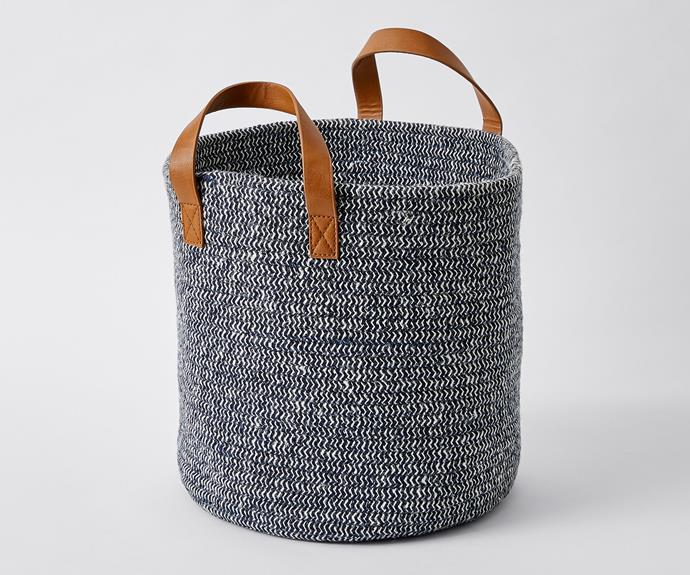 "Woven jute basket, $15, [Target](https://www.target.com.au/ target=""_blank"" rel=""nofollow"")."