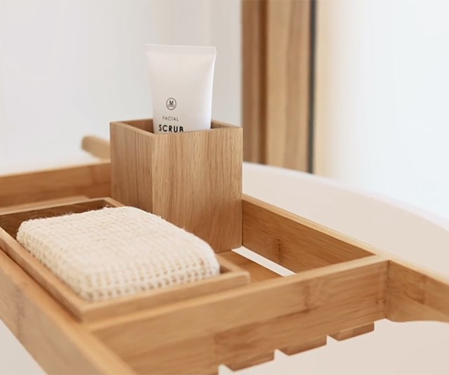"AH&G Apollo polished bamboo Bath Rack, $59.95; AH&G Apollo polished oak tray, $39.95; AH&G Apollo polished oak tumbler, $29.95 at [Myer](https://www.myer.com.au/|target=""_blank""