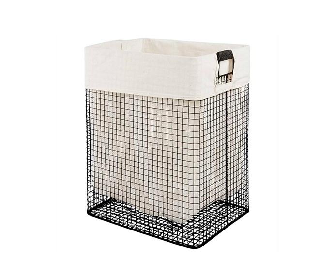 "'Langham' laundry hamper, $59, [Freedom](https://www.freedom.com.au/|target=""_blank""|rel=""nofollow"")."