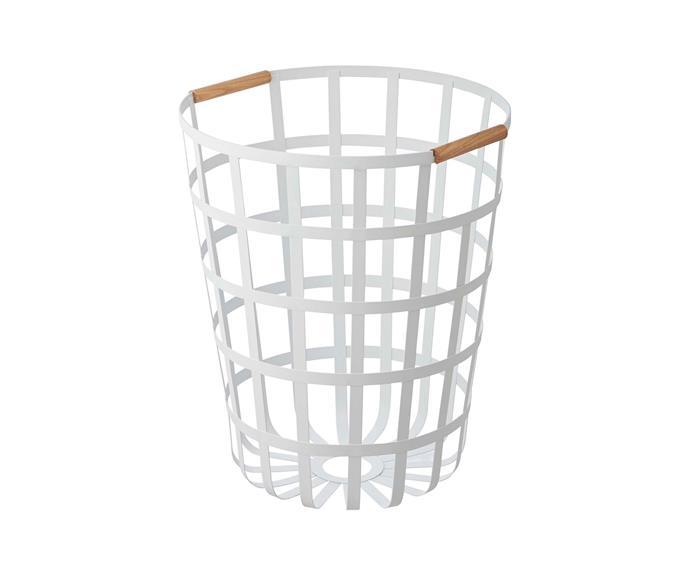 "Yamazaki 'Tosca' laundry basket, $119, [Leo & Bella](https://leoandbella.com.au/|target=""_blank""|rel=""nofollow"")."