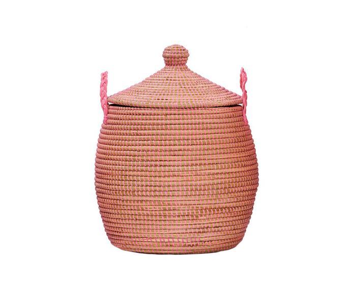 "Lidded basket in Pink, $160, [Olli Ella](https://au.olliella.com/|target=""_blank""|rel=""nofollow"")."