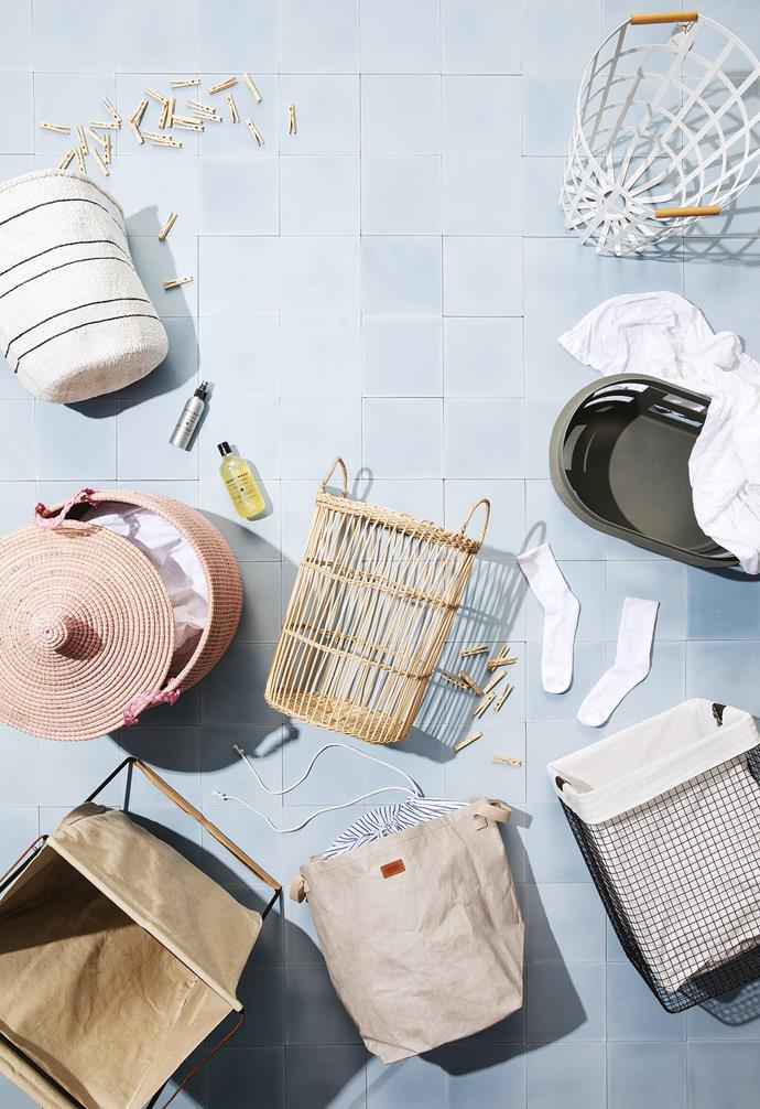 """**Laundry goals** Kit out your laundry with some of our favourite laundry hampers. Cement tiles in French Blue, $121/sqm, [Earp Bros](https://earp.com.au/