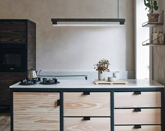 Plywood kitchen with French Wash walls