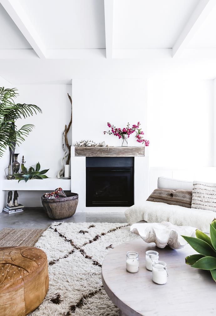 "**Living area** ""I'm obsessed with Moroccan and Turkish rugs,"" says Kylie. ""I have a few stores I am always stalking – Maison & Maison, Azul Bereber, Kaya Kilims, and Marr-Kett. They're great for a subtle colour hit in an all-white house."" Gas fireplace, [Jetmaster](https://www.jetmaster.com.au/
