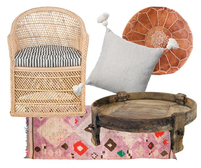 "**Boho luxe** Warming tones and natural textures balance the white space and guarantee a beautiful, welcoming home. Clockwise, left to right: 'Tahitian' chair, $495, [The Family Love Tree](https://thefamilylovetree.com.au/|target=""_blank""