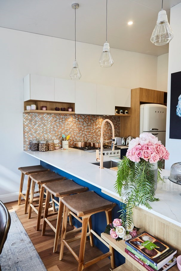 Chiara and David made good use of the space they had in the kitchen. The Smeg fridge was a smart move.