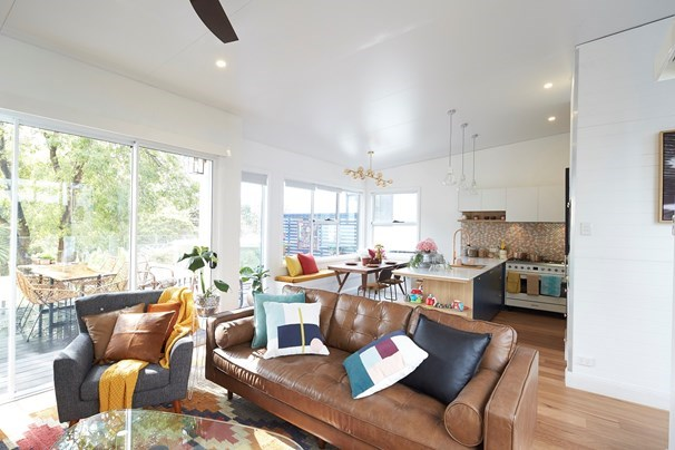 Toad and Mandy created a casual and relaxed family living room with a nod to mid-century style.