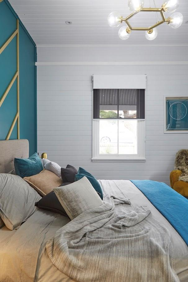 Chelsea's new bedroom is sophisticated and serene with its coastal palette and glam mid-century touches.