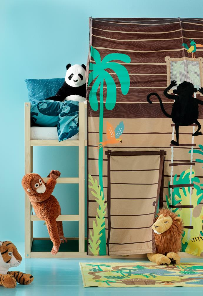 "DJUNGELSKOG quilt cover and pillowcase, $24.99, DJUNGELSKOG rug, low pile $19.99, DJUNGELSKOG tiger soft toy, $24.99, DJUNGELSKOG  orangutan soft toy, $19.99, DJUNGELSKOG  panda soft toy $19.99, DJUNGELSKOG  lion soft toy, $24.99, [IKEA](https://www.ikea.com/au/en/|target=""_blank""