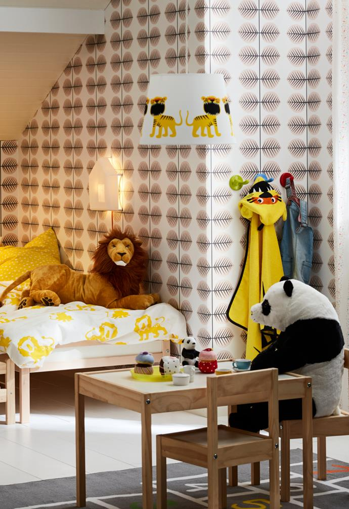 "DJUNGELSKOG quilt cover and pillowcase, $19.99, DJUNGELSKOG  lion soft toy, $24.99, DJUNGELSKOG  panda soft toy $19.99, DJUNGELSKOG  towel with hood, $14.99, TROLLAKULA lamp shade, $14.99, [IKEA](https://www.ikea.com/au/en/|target=""_blank""