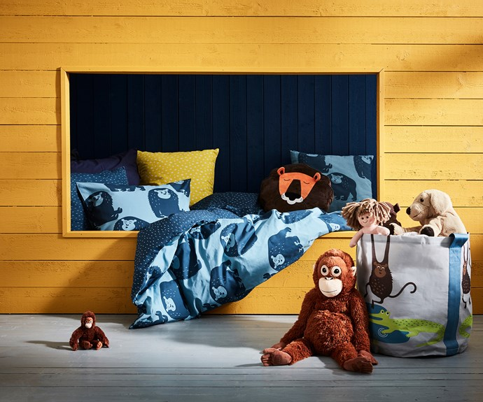 "DJUNGELSKOG quilt cover and pillowcase, $24.99, DJUNGELSKOG lion soft toy, $14.99, DJUNGELSKOG lion cub soft toy, $9.99, DJUNGELSKOG  small soft toy $2.99, DJUNGELSKOG storage bag $9.99, [IKEA](https://www.ikea.com/au/en/|target=""_blank""