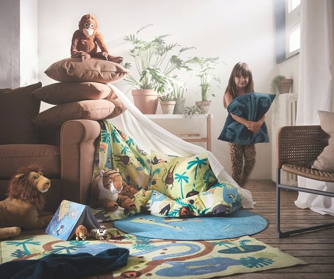 "DJUNGELSKOG quilt cover and pillowcase, $29.99, DJUNGELSKOG rug, low pile $19.99, DJUNGELSKOG  orangutan soft toy, $19.99, DJUNGELSKOG  lion soft toy, $24.99, DJUNGELSKOG tiger soft toy, $24.99, [IKEA](https://www.ikea.com/au/en/|target=""_blank""