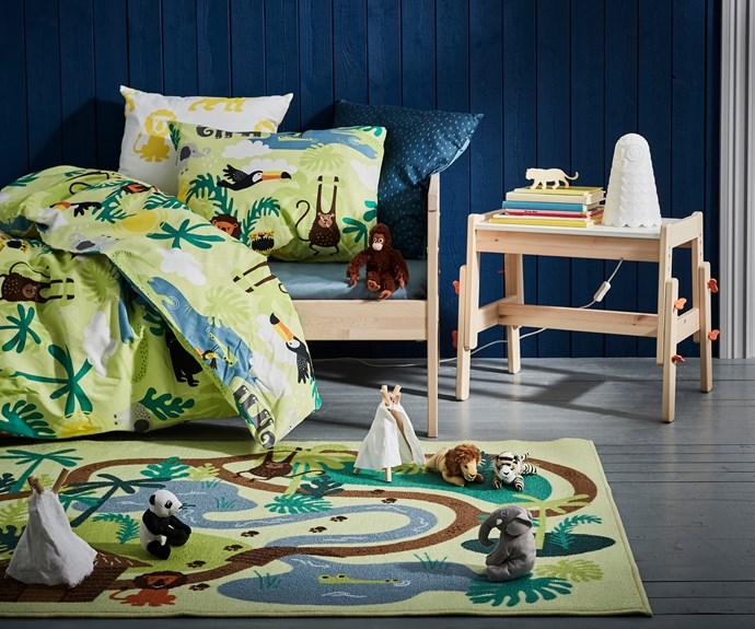 "DJUNGELSKOG quilt cover and pillowcase, $29.99, DJUNGELSKOG rug, low pile $19.99, DJUNGELSKOG  small soft toy $2.99 each, [IKEA](https://www.ikea.com/au/en/|target=""_blank""|rel=""nofollow"")."