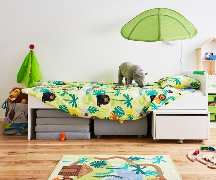 "DJUNGELSKOG  rhino soft toy, $19.99, DJUNGELSKOG quilt cover and pillowcase, $29.99, DJUNGELSKOG rug, low pile $19.99, [IKEA](https://www.ikea.com/au/en/|target=""_blank""|rel=""nofollow"")."