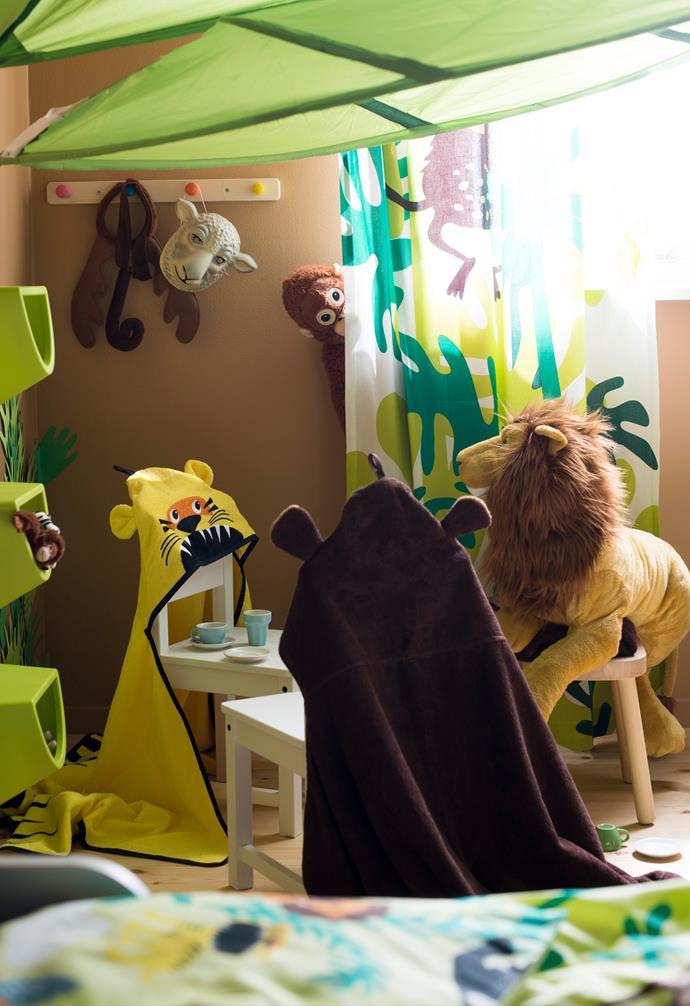 "DJUNGELSKOG towel with hood, $14.99 each, DJUNGELSKOG  lion soft toy, $24.99, DJUNGELSKOG  orangutan soft toy, $19.99, [IKEA](https://www.ikea.com/au/en/|target=""_blank""|rel=""nofollow"")."