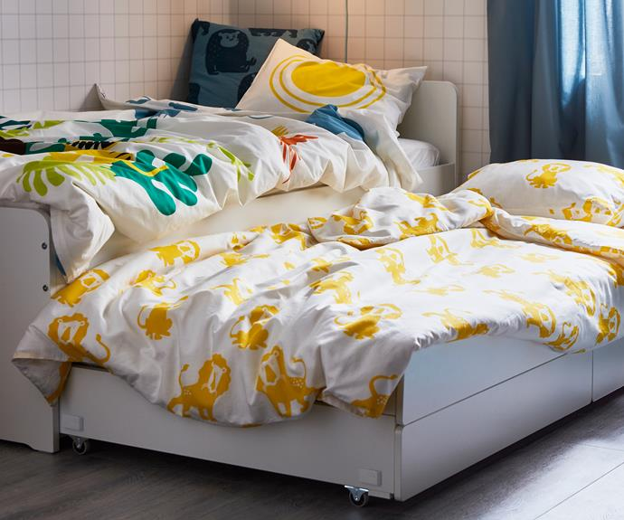 "DJUNGELSKOG lion print quilt cover and pillowcase, $19.99, DJUNGELSKOG quilt cover and pillowcase, $24.99, [IKEA](https://www.ikea.com/au/en/|target=""_blank""