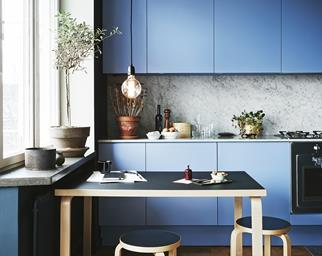blue kitchen marble pendant light