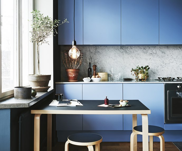 blue kitchen marble pendant light