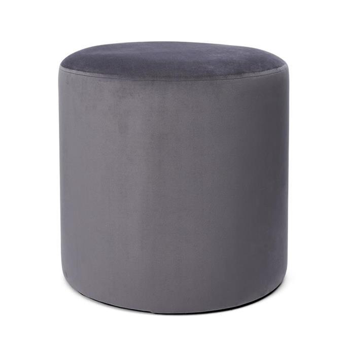 Velvet ottoman in Grey, $29.