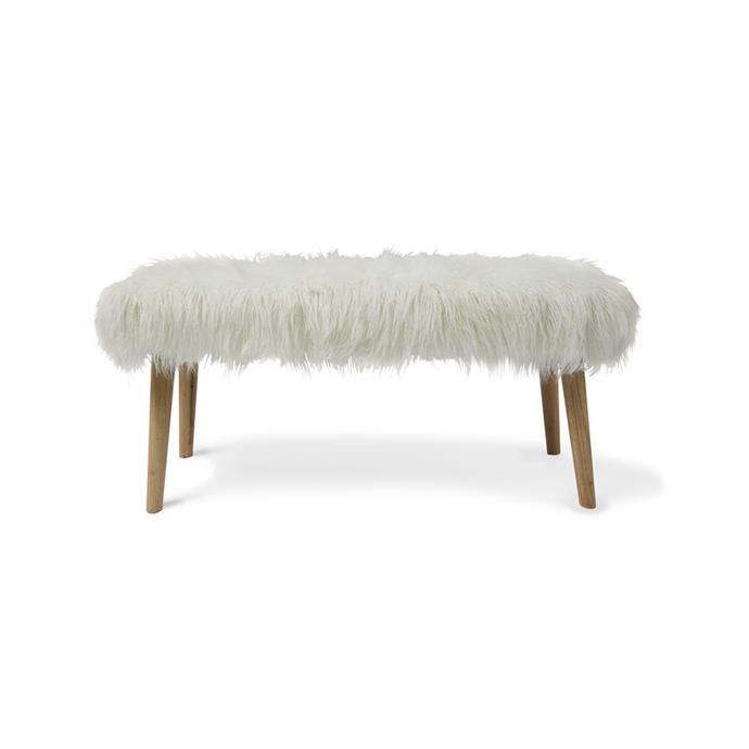 Mongolian faux fur bench, $45.