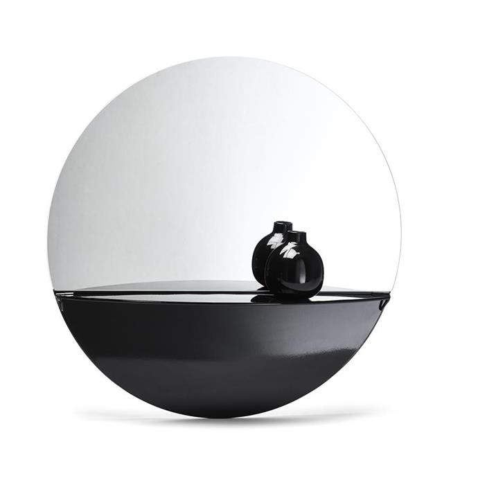 Round mirror with shelf, $19.