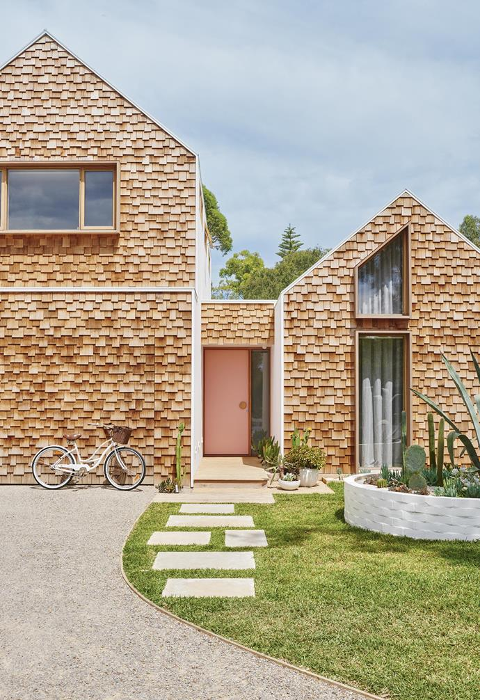 **Exterior** Cedar shingles clad the exterior of this Barwon Heads abode, which is home to interior stylist Emma O'Meara and her family. A cactus garden adds a Palm Springs vibe. *Styling: Emma O'Meara | Photography: Nikole Ramsay*.
