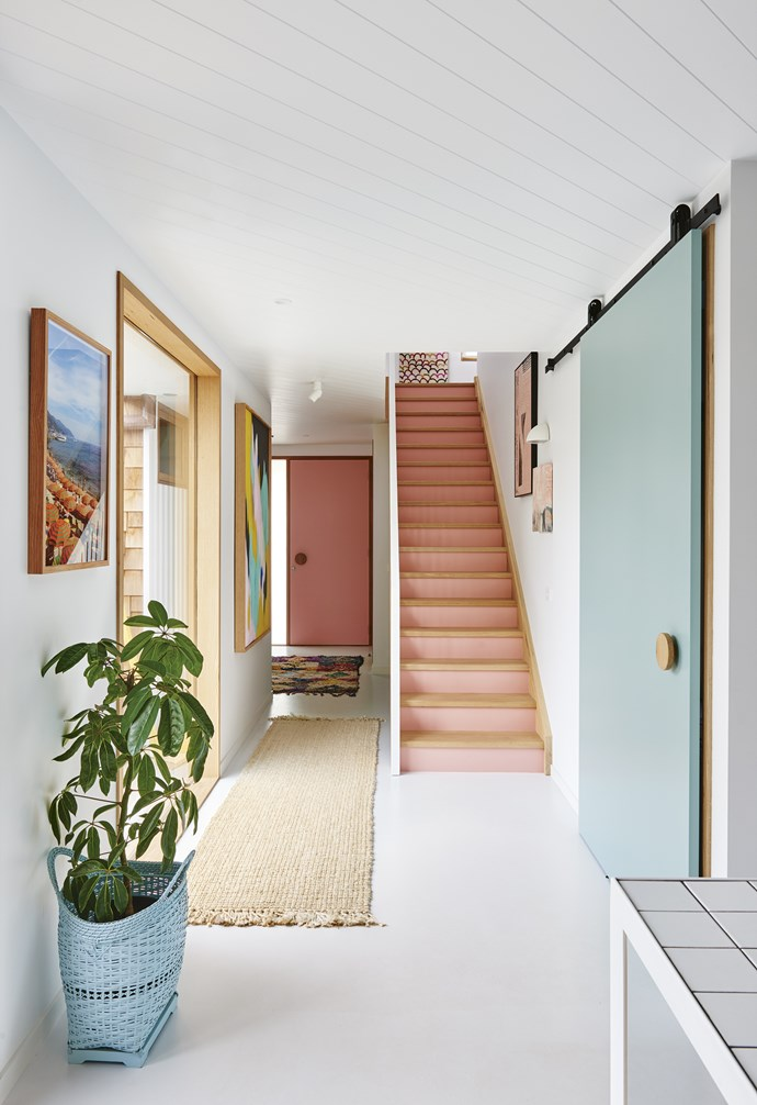 "**Hallway** The large artwork by Clare O'Donoghue, plus stair risers in [Haymes](http://www.haymespaint.com.au/|target=""_blank""
