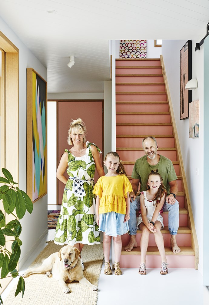 """**Hallway** Emma, Simon, Leni, Ginger and Frankie love their new home. Artwork: (top of stairs) Wall hanging by [Kip&CO](https://kipandco.com.au/