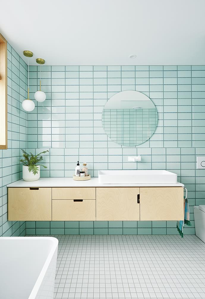 "**Bathroom** Mint wall tiles from [National Tiles](https://www.nationaltiles.com.au/|target=""_blank""