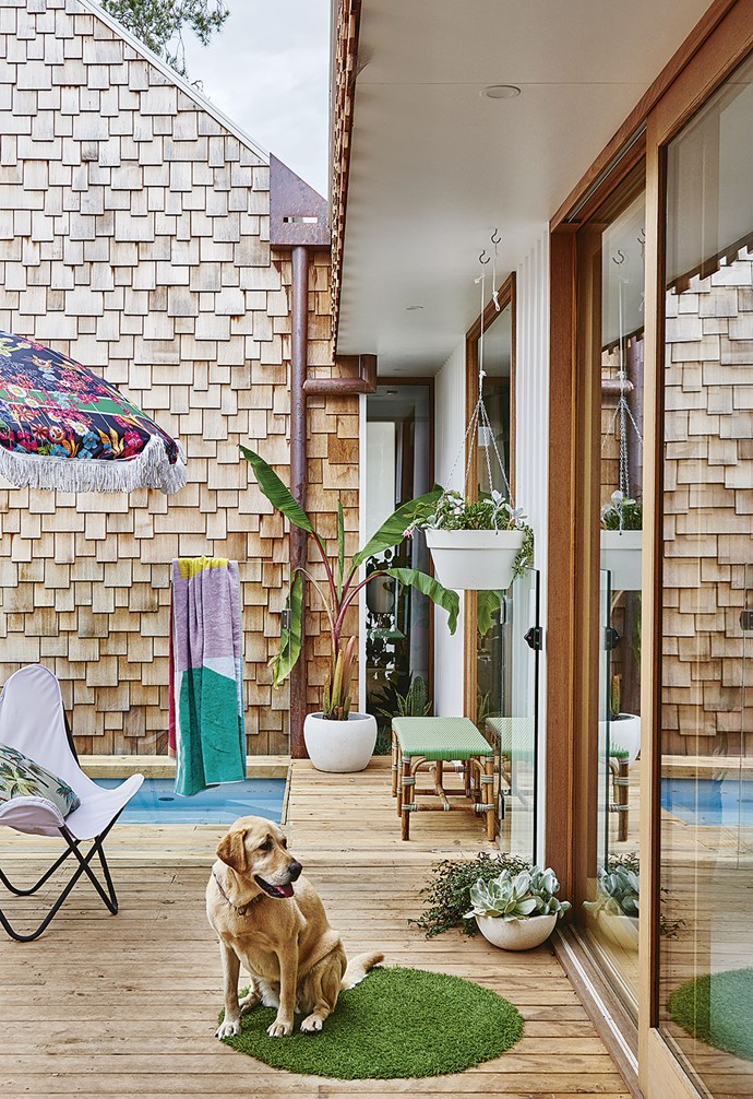 """**Deck** """"The plunge pool is the icing on the cake,"""" says Emma. """"The girls love it."""" Umbrella, [Basil Bangs](https://basilbangs.com/au/