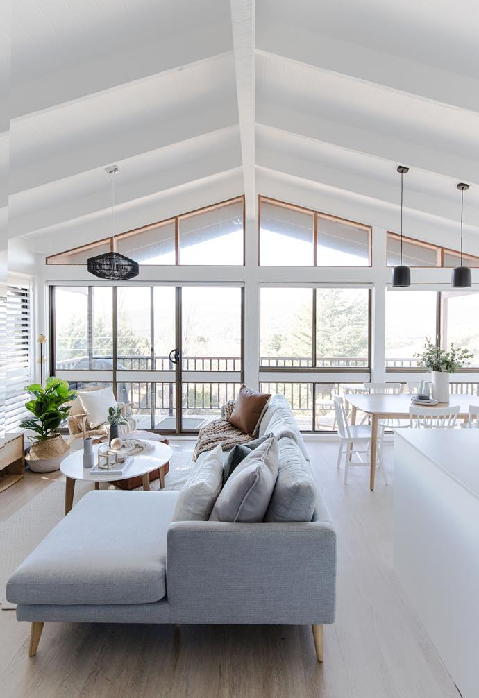 **Living** A pitched ceiling makes the living space feel even more spacious.