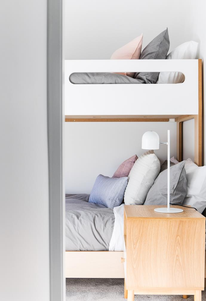 **Kids' bedroom** A chic plywood bunk bed is perfect for the little ones.