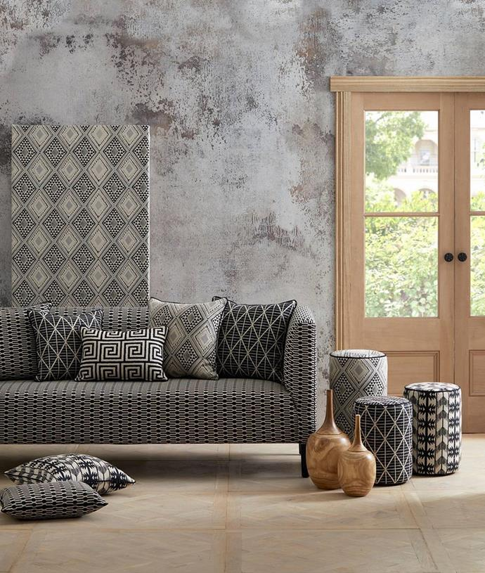 "When done right, a mixture of prints can add elegance to a space. [Warwick Fabrics' Aditi range](https://www.warwick.com.au/products/SAT129501|target=""_blank""