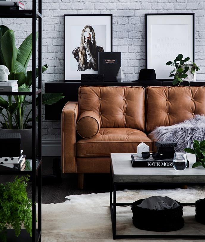 A long-term style statement: With only a quick change-up of textures and tones around your leather sofa, your lounge room can take on a completely new feel. *Photo: Chris Warnes / Bauersyndication.com.au*