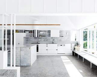 white kitchen concrete floor marble tiles