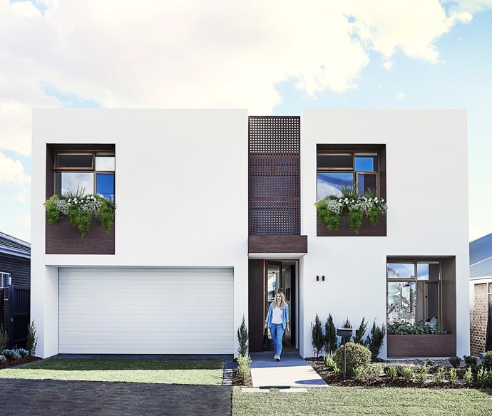 My Ideal House is constructed from thermally efficient Hebel and punctuated with cheery windowboxes made from Innowood. The automated double garage door is from B&D Australia.