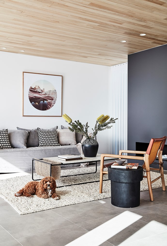 Dusty in the cosy living area, where a Real Flame 'Simplicity 1500' gas fire is the focal point. 'Madi' spotted cushions in Tar, 'Devonport' textured cushion in Sandstorm, 'Miramar' throw in Sandstorm and 'Himalaya' rug in Feather, all from Weave. 'Middle of Nowhere' print from Warranbrooke; all furniture from Bowerbird Interiors. 'Luminette' blinds by Luxaflex Window Fashions.