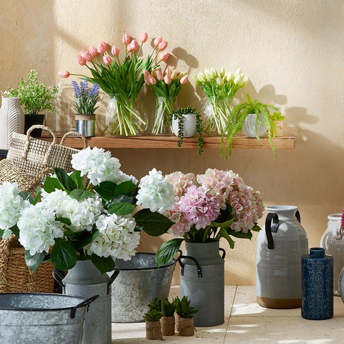 "White florals work in almost every space. Try [Australia House and Garden White Hydrangea Stem](https://www.myer.com.au/shop/mystore/home/decorative-accessories/decor-artificial-flowers|target=""_blank""