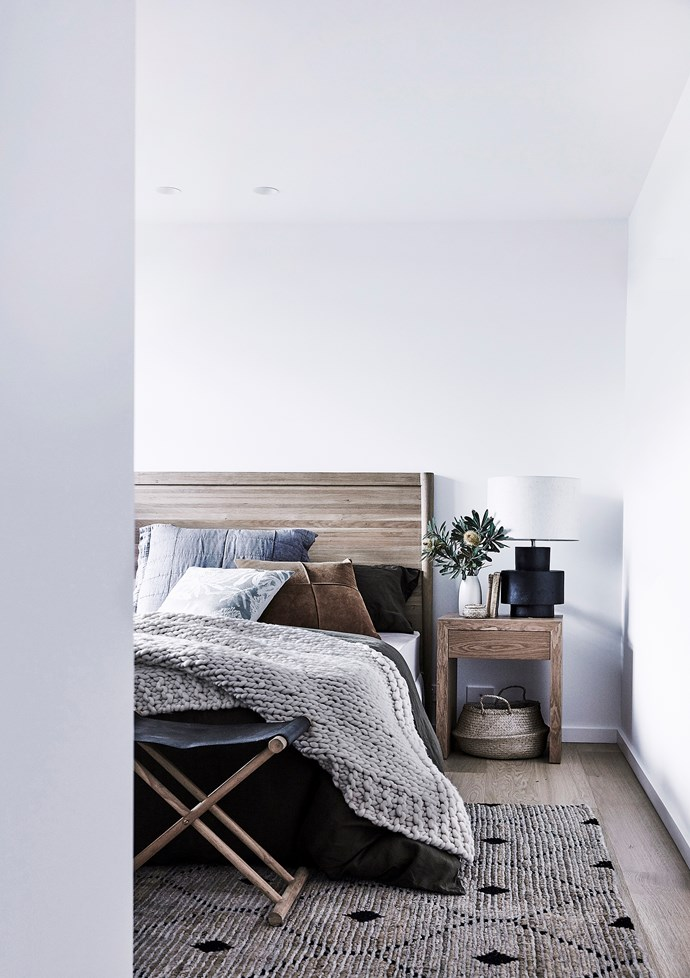 """The main bedroom features a 'Denali' rug in Sandstorm from Weave. On bed (from left): *Australian House & Garden* 'Katoomba' European pillowcase in Charcoal, 'Blackheath' cushion in Green, 'Richmond' cushion in Tan and 'Sandy Cape' quilt cover and pillowcase in Olive, all  [Myer](https://www.myer.com.au/webapp/wcs/stores/servlet/SearchDisplay?searchTermScope=&searchType=1002&filterTerm=&orderBy=0&maxPrice=&showResultsPage=true&langId=-1&beginIndex=0&sType=SimpleSearch&metaData=&pageSize=12&manufacturer=&resultCatEntryType=&catalogId=10051&pageView=image&searchTerm=&facet=mfName_ntk_cs%253A%2522Australian%2BHouse%2B%2526%2BGarden%2522&minPrice=&categoryId=17940&storeId=10251. target=""""_blank"""" rel=""""nofollow"""")"""