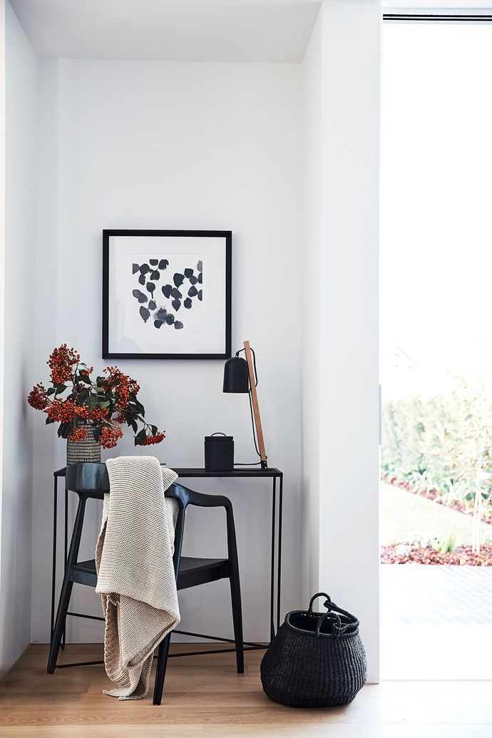 An office nook has been included in the multipurpose room. Warranbrooke 'Monochrome Gestures 2' print and furniture from Bowerbird Interiors.