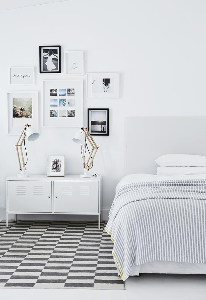 **Gina's bedroom** A monochromatic palette is softened by pale grey bedding. *Styling: Sven Alberding | Photography: Warren Heath*.