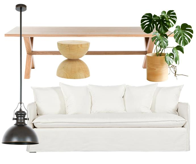 """**Holiday style** Embrace soft curves and laid-back looks for a vacation-ready home. Touchable linen meets natural timber in this minimalist combination. **Get the look** (clockwise left to right) 'Alfred 1' pendant light, $189, [Beacon Lighting](https://www.beaconlighting.com.au/